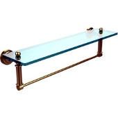 Dottingham Collection 22'' Glass Shelf with Towel Bar, Premium Finish, Satin Brass