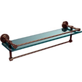 Dottingham 22 Inch Gallery Glass Shelf with Towel Bar, Antique Pewter
