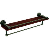 Dottingham Collection 22 Inch IPE Ironwood Shelf with Gallery Rail and Towel Bar, Antique Brass