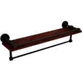 Dottingham Collection 22 Inch IPE Ironwood Shelf with Gallery Rail and Towel Bar, Antique Bronze