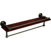 Dottingham Collection 22 Inch IPE Ironwood Shelf with Gallery Rail and Towel Bar, Brushed Bronze