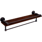 Dottingham Collection 22 Inch IPE Ironwood Shelf with Gallery Rail and Towel Bar, Antique Copper