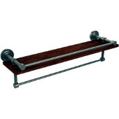 Dottingham Collection 22 Inch IPE Ironwood Shelf with Gallery Rail and Towel Bar, Antique Pewter