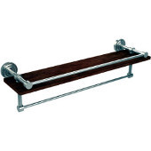 Dottingham Collection 22 Inch IPE Ironwood Shelf with Gallery Rail and Towel Bar, Polished Nickel