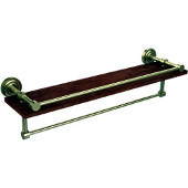 Dottingham Collection 22 Inch IPE Ironwood Shelf with Gallery Rail and Towel Bar, Satin Brass