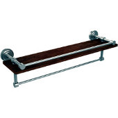 Dottingham Collection 22 Inch IPE Ironwood Shelf with Gallery Rail and Towel Bar, Satin Nickel