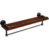 Dottingham Collection 22 Inch IPE Ironwood Shelf with Gallery Rail and Towel Bar, Venetian Bronze