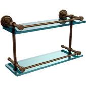 Dottingham 16 Inch Double Glass Shelf with Gallery Rail, Antique Brass