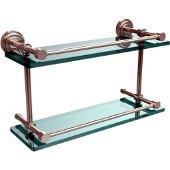 Dottingham 16 Inch Double Glass Shelf with Gallery Rail, Polished Nickel