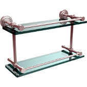 Dottingham 16 Inch Double Glass Shelf with Gallery Rail, Satin Chrome