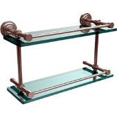 Dottingham 16 Inch Double Glass Shelf with Gallery Rail, Satin Nickel