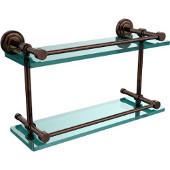 Dottingham 16 Inch Double Glass Shelf with Gallery Rail, Venetian Bronze