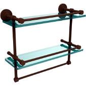 Dottingham 16 Inch Gallery Double Glass Shelf with Towel Bar, Antique Bronze