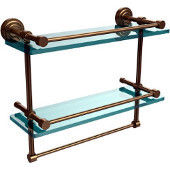 Dottingham 16 Inch Gallery Double Glass Shelf with Towel Bar, Brushed Bronze