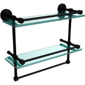 Dottingham 16 Inch Gallery Double Glass Shelf with Towel Bar, Matte Black