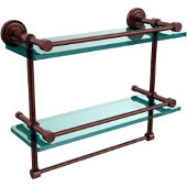 Dottingham 16 Inch Gallery Double Glass Shelf with Towel Bar, Antique Copper