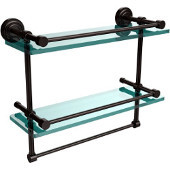 Dottingham 16 Inch Gallery Double Glass Shelf with Towel Bar, Oil Rubbed Bronze