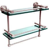 Dottingham 16 Inch Gallery Double Glass Shelf with Towel Bar, Polished Chrome