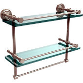 Dottingham 16 Inch Gallery Double Glass Shelf with Towel Bar, Polished Nickel