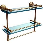 Dottingham 16 Inch Gallery Double Glass Shelf with Towel Bar, Satin Brass