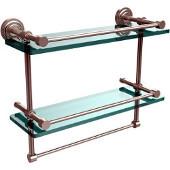 Dottingham 16 Inch Gallery Double Glass Shelf with Towel Bar, Satin Nickel