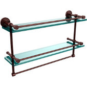 Dottingham 22 Inch Gallery Double Glass Shelf with Towel Bar, Antique Copper