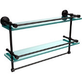 Dottingham 22 Inch Gallery Double Glass Shelf with Towel Bar, Oil Rubbed Bronze