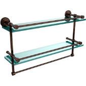Dottingham 22 Inch Gallery Double Glass Shelf with Towel Bar, Venetian Bronze