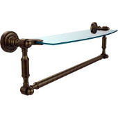 Dottingham Collection 18'' Single Glass Shelf with Towel Bar, Premium Finish, Antique Brass