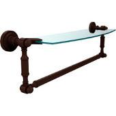 Dottingham Collection 18'' Single Glass Shelf with Towel Bar, Premium Finish, Rustic Bronze