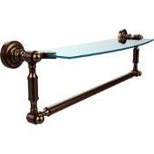 Dottingham Collection 18'' Single Glass Shelf with Towel Bar, Premium Finish, Brushed Bronze