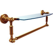 Dottingham 18 Inch Glass Vanity Shelf with Integrated Towel Bar, Unlacquered Brass