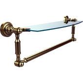 Dottingham Collection 18'' Single Glass Shelf with Towel Bar, Premium Finish, Satin Brass