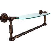 Dottingham Collection 18'' Single Glass Shelf with Towel Bar, Premium Finish, Venetian Bronze