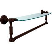 Dottingham Collection 24'' Single Glass Shelf with Towel Bar, Premium Finish, Rustic Bronze
