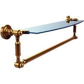 Dottingham Collection 24'' Single Glass Shelf with Towel Bar, Standard Finish, Polished Brass