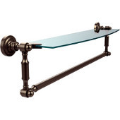 Dottingham Collection 24'' Single Glass Shelf with Towel Bar, Premium Finish, Antique Pewter