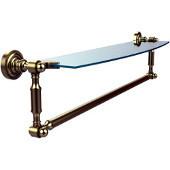 Dottingham Collection 24'' Single Glass Shelf with Towel Bar, Premium Finish, Satin Brass