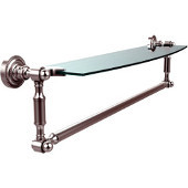 Dottingham Collection 24'' Single Glass Shelf with Towel Bar, Premium Finish, Satin Chrome