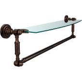 Dottingham Collection 24'' Single Glass Shelf with Towel Bar, Premium Finish, Venetian Bronze