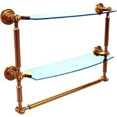Dottingham Collection 18 Inch Two Tiered Glass Shelf with Integrated Towel Bar, Unlacquered Brass