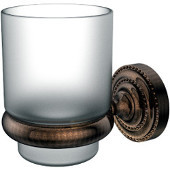 Dottingham Collection Glass Tumbler with Wall Mounted Holder, Premium Finish, Venetian Bronze
