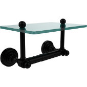 Dottingham Collection Two Post Toilet Tissue Holder with Glass Shelf, Matte Black
