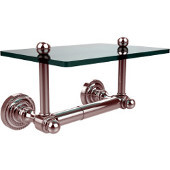 Dottingham Collection Two Post Toilet Tissue Holder with Glass Shelf, Polished Chrome