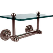 Dottingham Collection Two Post Toilet Tissue Holder with Glass Shelf, Polished Nickel