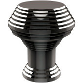 E-1 Series Designer Cabinet Knobs Collection 1'' Diameter Round Grooved Cabinet Knob in Polished Chrome (Standard Finish), Available in Multiple Finishes