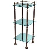 Three Tier Etagere with 14 Inch x 14 Inch Shelves, Antique Pewter