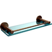 Fresno Collection 16'' Glass Shelf with Gallery Rail, Premium Finish, Brushed Bronze