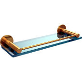 Fresno Collection 16'' Glass Shelf with Gallery Rail, Standard Finish, Polished Brass