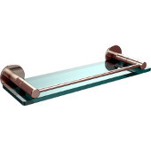 Fresno Collection 16'' Glass Shelf with Gallery Rail, Premium Finish, Polished Nickel